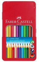 Faber-Castell Farbstift Colour GRIP, 12 Farben im Metalletui