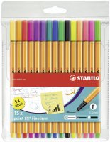 STABILO Point 88 Fineliner - 15er Pack - inklusive 5 Neonfarben