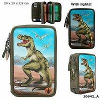 Dino World 3-fach Federtasche T-Rex LED Federmappe Mäppchen Dinosaurier 10642